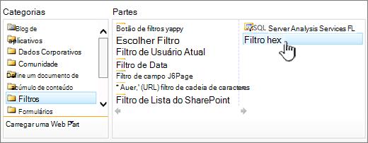 Selecionando a web part de filtro de texto