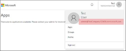 Captura de tela do endereço de e-mail do administrador
