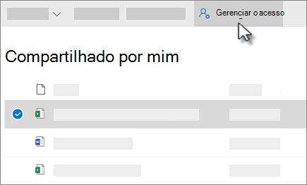 Captura de tela do botão Gerenciar acesso no compartilhado por mim exibir no OneDrive for Business