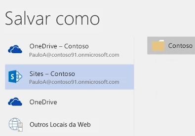 Salvar um documento do OneDrive for Business em uma biblioteca de site de equipe