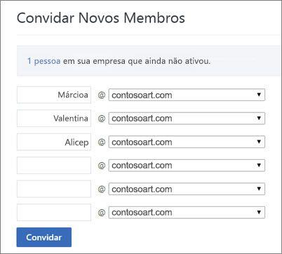 O domínio principal é exibido quando você convida usuários para o grupo do Yammer