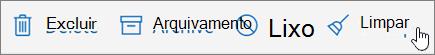 Uma captura de tela mostra a opção Limpar selecionada na barra de ferramentas de Email.