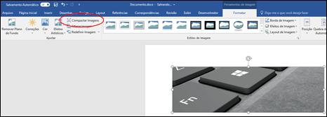 Botão Compactar Imagem no grupo Ajustar na guia Formatar de Ferramentas de Imagem