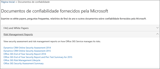 Mostra a página de garantia de Serviço: Confie em documentos fornecidos pela Microsoft