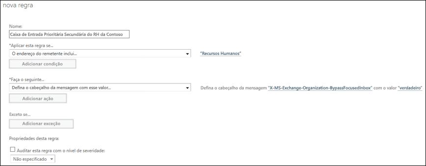 Captura de tela: Criar e salvar a nova regra da Caixa de Entrada Destaques
