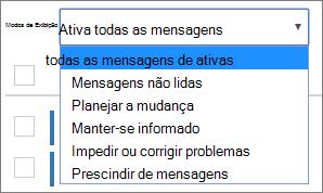 Menu de modos de exibição do Centro de mensagens expandido para mostrar os filtros
