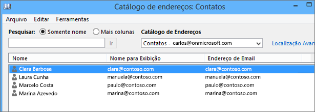 Quando seus contatos forem importados do Google Gmail para o Office 365, você os verá listados em Catálogo de Endereços: Contatos