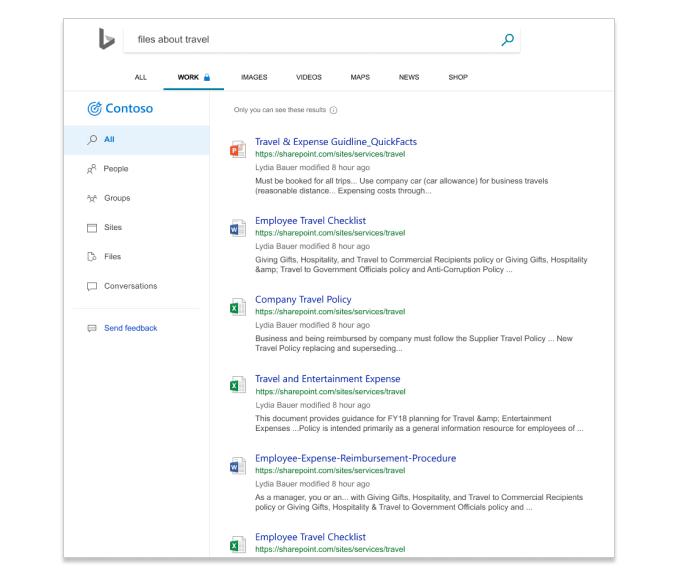Resultados da pesquisa no Microsoft Search no Bing mostrando arquivos dentro de uma empresa.