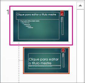 Miniatura do slide mestre no modo de exibição de slide mestre