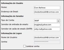 Editar várias configurações de conta