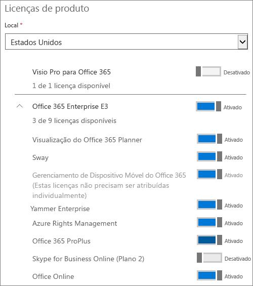 Configurando atribuições de licença para um usuário.