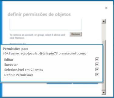 Captura de tela da caixa de diálogo Definir Permissões do Objeto no SharePoint Online. Use esta caixa de diálogo para definir permissões para um Tipo de Conteúdo Externo especificado.