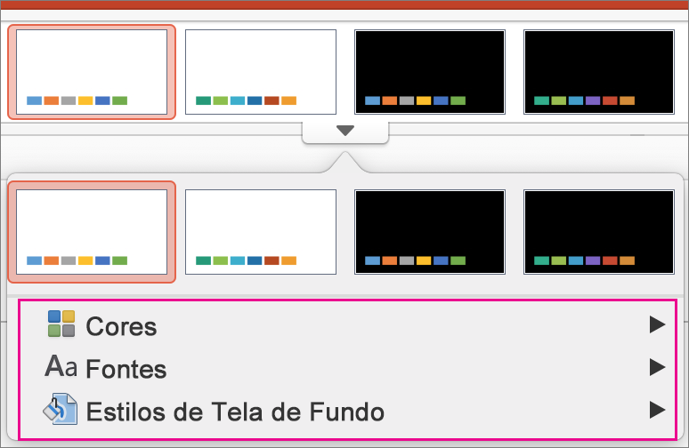 Galeria Variantes do PowerPoint para Mac