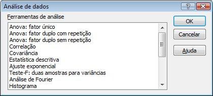 Caixa de diálogo Análise de Dados