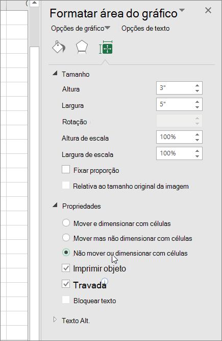 Propriedades no painel Formatar área do gráfico
