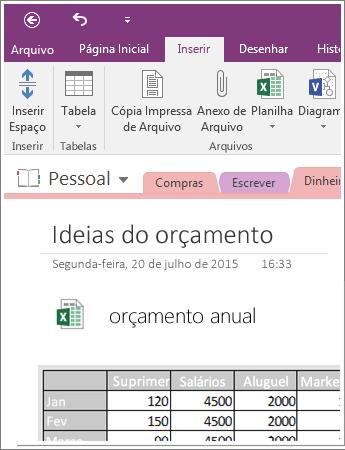 Captura de tela de uma planilha inserida no OneNote 2016.