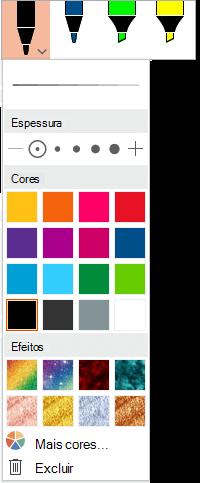 Opções de cor e espessura para uma caneta na Galeria de Canetas do Office na guia Desenhar