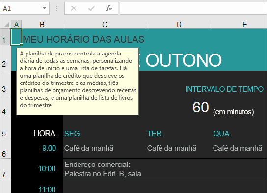 Novo modelo Gerenciador de Curso da Faculdade do Excel com descrições dos elementos.