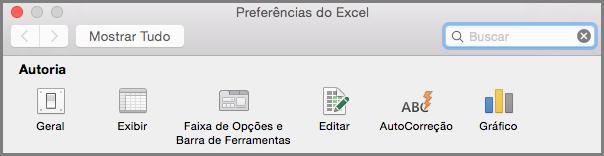 Preferências da Faixa de Opções da Barra de Ferramentas do Office2016 para Mac