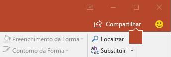 O botão compartilhar na faixa de opções no PowerPoint 2016