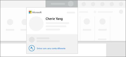 Captura de tela conceitual do recurso de mudança de conta