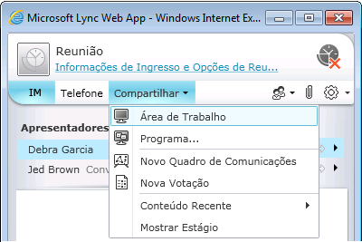 Menu Compartilhar do Lync Web App