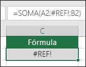 O Excel exibe o erro #REF! quando uma referência de célula não é válida.