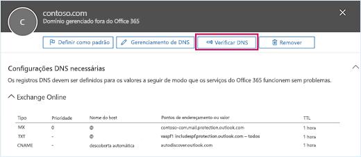 A captura de tela mostra a página de configurações de DNS Necessário e o botão Verificar DNS com o foco.