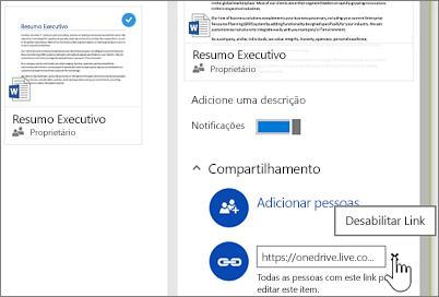 Captura de tela da desabilitação de um link no painel Detalhes para parar de compartilhar um item