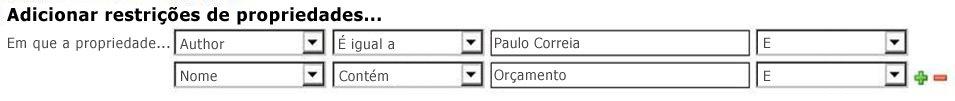 selecione as propriedades e o operador nas opções suspensas