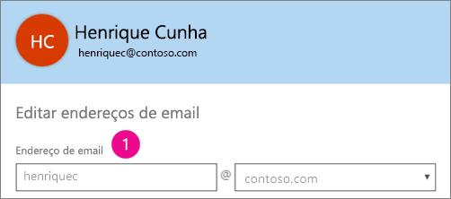 Captura de tela do campo de perfil de endereço de email no Office 365