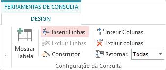 botão inserir linhas na guia design das ferramentas de consulta