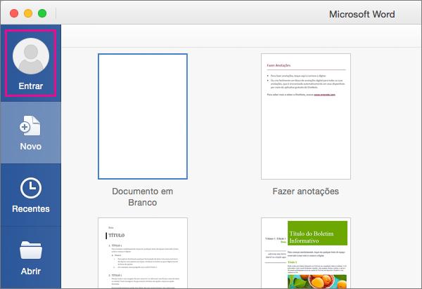 No menu Arquivo, clique em Novo usando Modelo e, em seguida, clique em Entrar para entrar no Office.