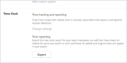 Exportando um relatório de relógio horário em Microsoft Teams turnos