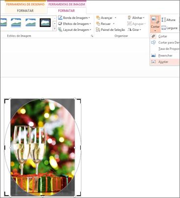 recortar para ajustar forma exibido na imagem