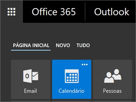 Uma captura de tela do bloco Calendário no Inicializador de Aplicativos do Office 365.
