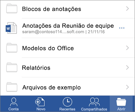 Abrir documentos no aplicativo móvel do Word para iOS