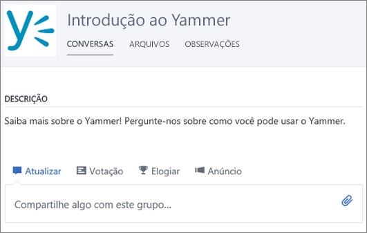 Um grupo de exemplo de introdução ao Yammer