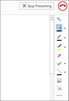 Captura de tela do quadro de comunicações em uma reunião