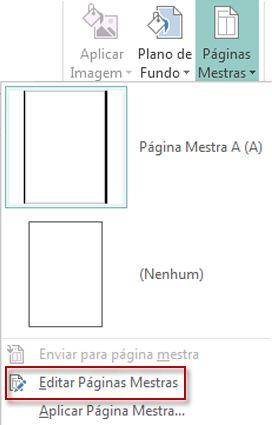 Edite suas páginas mestras no Publisher 2013.