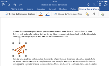 Word para iOS mostrando a guia de edição de elementos gráficos