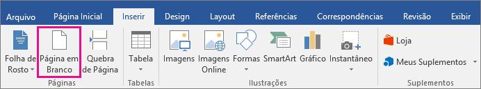 O ícone Página em Branco está realçado na guia Inserir.