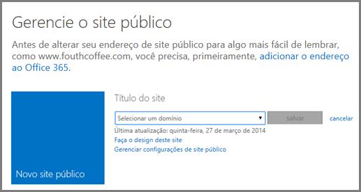 gerenciar site público mostrando selecione um domínio.