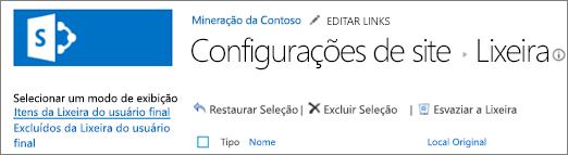 Os menus de Lixeira em Configurações do Site