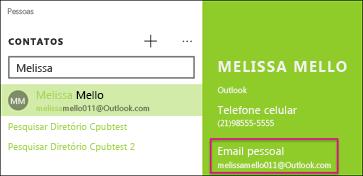 O contato deve ter um endereço de email válido