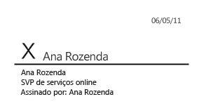 Linha de assinatura inserida e completa com assinatura