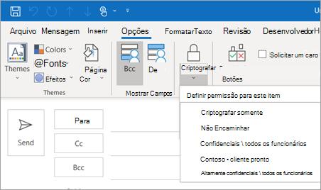 Criptografar opções de botão