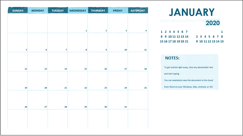 Um calendário acadêmico mensal