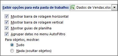 Caixa de seleção Mostrar guias da planilha na caixa de diálogo Opções do Excel