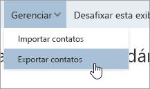 Uma captura de tela da opção Exportar contatos no menu Gerenciar
